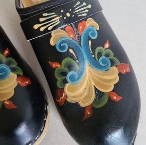 Vintage Shoes - Vintage hand painted swedish clogs